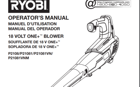 cover page of Ryobi p2180 manual